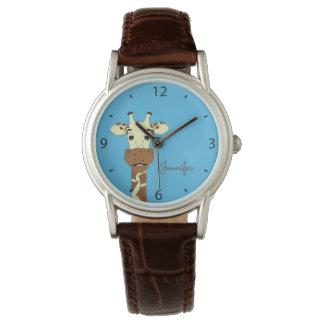 Funny giraffe cartoon blue name woman's watch