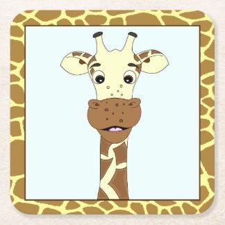 Funny giraffe cartoon kids square paper coaster