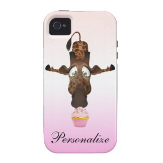 Funny Giraffe & Cupcake Personalized iPhone 4/4S iPhone 4/4S Case