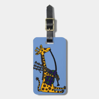 Funny Giraffe Playing Bagpipes Art Luggage Tag
