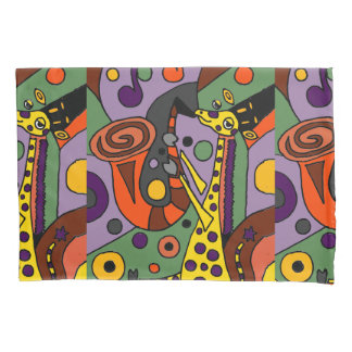 Funny Giraffe Playing Saxophone Art Pillowcase