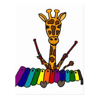 Funny Giraffe Playing Xylophone Cartoon Postcard