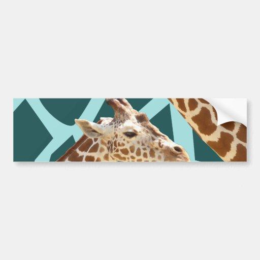 Funny Giraffe Print Teal Blue Wild Animal Patterns Bumper Stickers