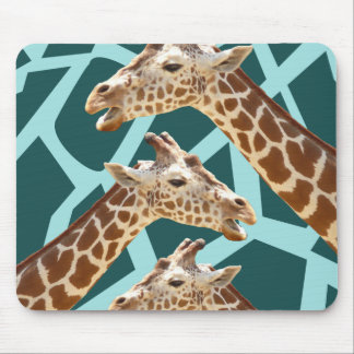 Funny Giraffe Print Teal Blue Wild Animal Patterns Mouse Pad