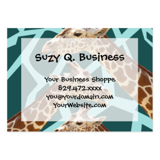 Funny Giraffe Print Teal Blue Wild Animal Patterns Pack Of Chubby Business Cards