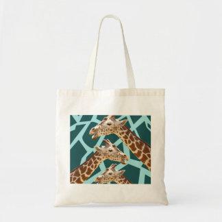 Funny Giraffe Print Teal Blue Wild Animal Patterns Tote Bag