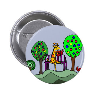 Funny Giraffe Reading at the Park Pinback Button