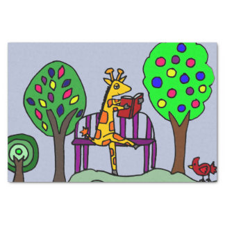 Funny Giraffe Reading in the Park Tissue Paper
