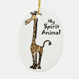 Funny Giraffe Spirit Guide Ceramic Oval Decoration