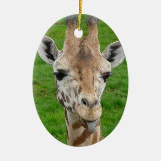 Funny Giraffe Sticking Out Tongue! Ceramic Ornament