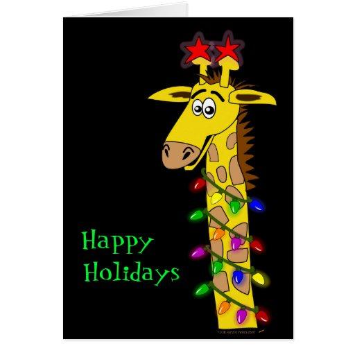Funny Giraffe Whimsical Christmas With Lights Card