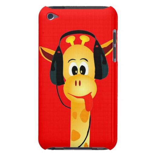 Funny giraffe with headphone colorful comic style iPod Case-Mate cases