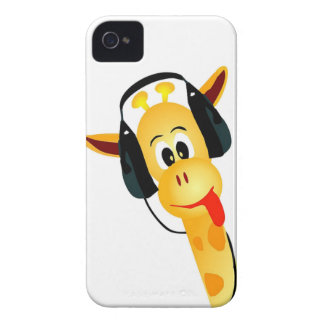 funny giraffe with headphones iPhone 4 covers