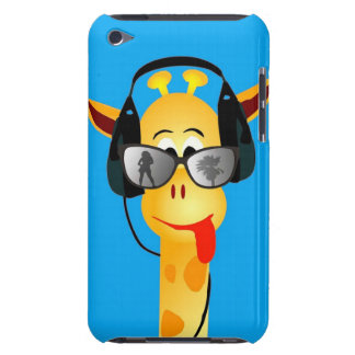 funny giraffe with headphones summer glasses comic Case-Mate iPod touch case