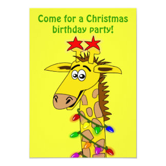 Funny Giraffe With Lights Whimsical Christmas Card