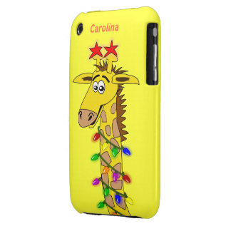 Funny Giraffe With Lights Whimsical Christmas iPhone 3 Cover