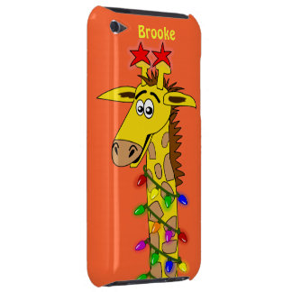 Funny Giraffe With Lights Whimsical Christmas iPod Case-Mate Case