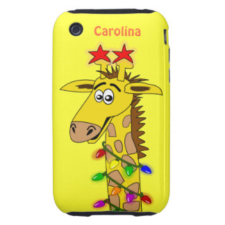 Funny Giraffe With Lights Whimsical Christmas Tough iPhone 3 Covers