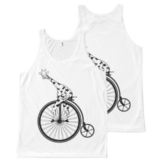Funny giraffee riding a penny-farthing All-Over print singlet