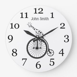Funny giraffee riding a penny-farthing large clock