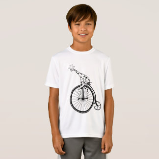 Funny giraffee riding a penny-farthing T-Shirt