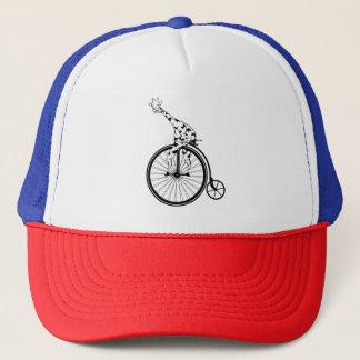 Funny giraffee riding a penny-farthing trucker hat