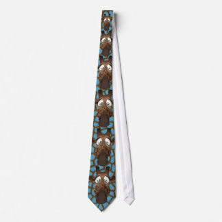 Funny Giraffes Blue Faux Animal Fur Tie
