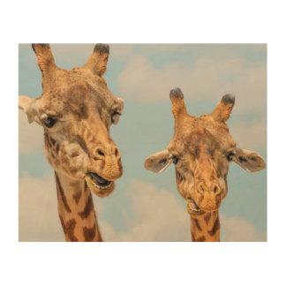 Funny Giraffes Wood Prints