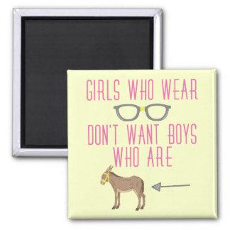 Funny Girl Glasses Nerd Humor Square Magnet
