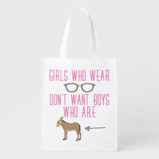 Funny Girl Glasses Nerd Humor Reusable Grocery Bags
