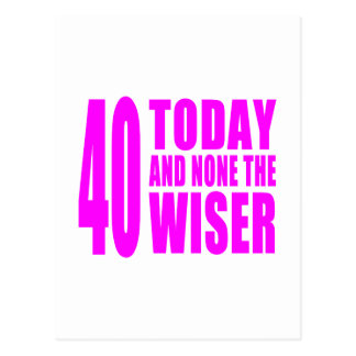 Funny Girls Birthdays  40 Today and None the Wiser Post Card