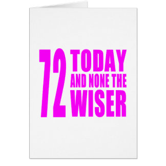 Funny Girls Birthdays 72 Today and None the Wiser Card