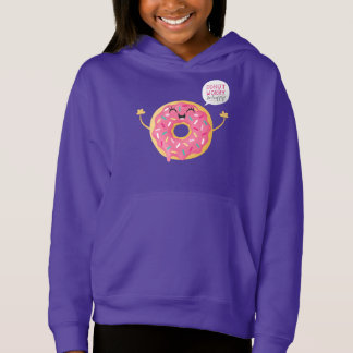 Funny Girls Hoodie Purple Donut Worry Be Happy