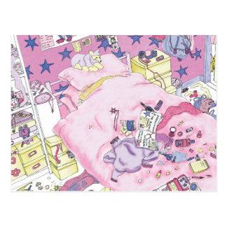 Funny girls messy bedroom novelty art postcard