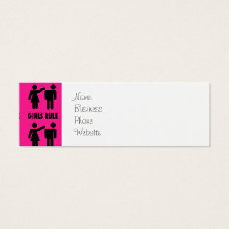 Funny Girls Rule Hot Pink Feminist Gifts Mini Business Card