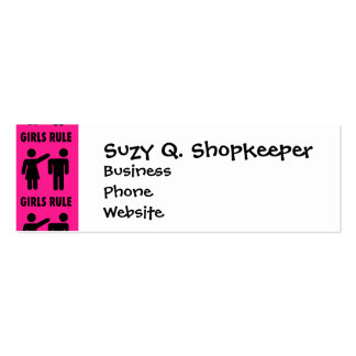 Funny Girls Rule Hot Pink Feminist Gifts Pack Of Skinny Business Cards