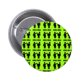 Funny Girls Rule Neon Lime Green Girl Power Buttons