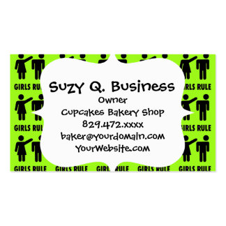 Funny Girls Rule Neon Lime Green Girl Power Pack Of Standard Business Cards