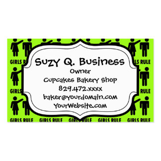 Funny Girls Rule Neon Lime Green Girl Power Business Card