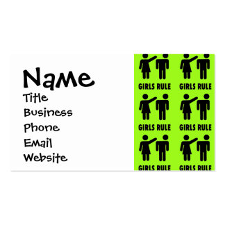 Funny Girls Rule Neon Lime Green Girl Power Business Card Template