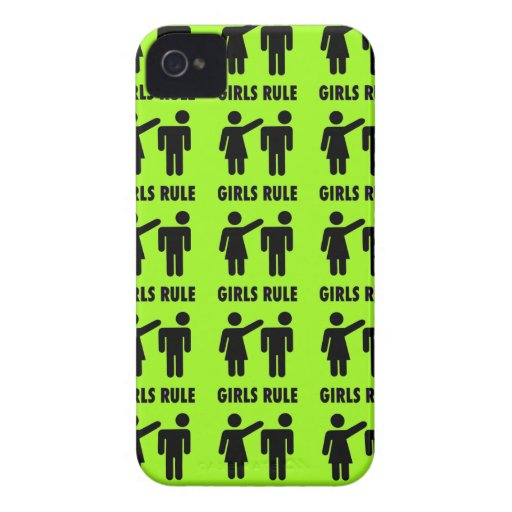 Funny Girls Rule Neon Lime Green Girl Power iPhone 4 Covers