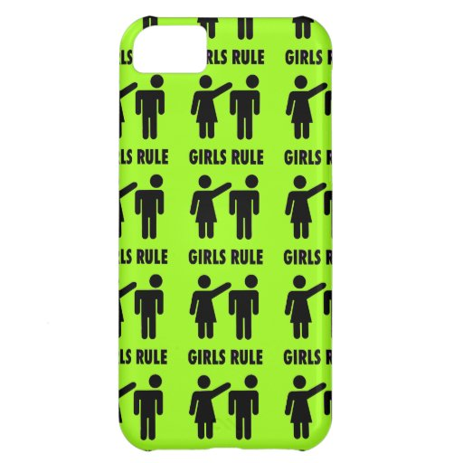 Funny Girls Rule Neon Lime Green Girl Power Cover For iPhone 5C