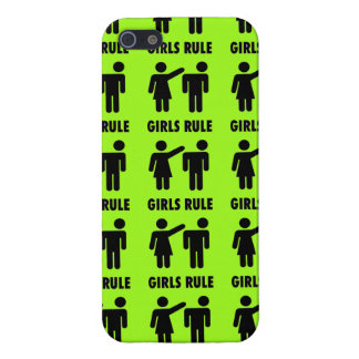 Funny Girls Rule Neon Lime Green Girl Power iPhone 5/5S Cases
