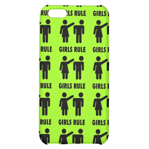 Funny Girls Rule Neon Lime Green Girl Power Case For iPhone 5C