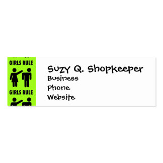 Funny Girls Rule Neon Lime Green Girl Power Pack Of Skinny Business Cards
