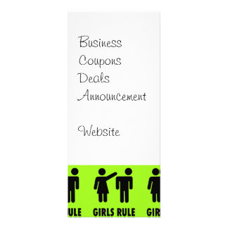 Funny Girls Rule Neon Lime Green Girl Power Personalised Rack Card