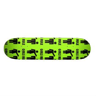 Funny Girls Rule Neon Lime Green Girl Power Custom Skateboard