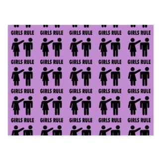 Funny Girls Rule Purple Girl Power Feminist Gifts Postcard