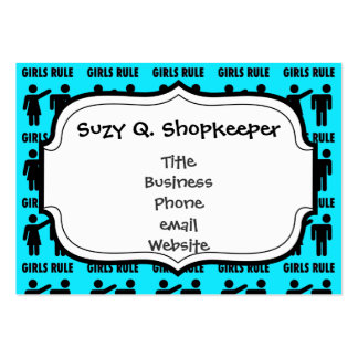 Funny Girls Rule Teal Turquoise Blue Girl Power Pack Of Chubby Business Cards