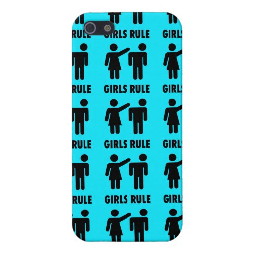 Funny Girls Rule Teal Turquoise Blue Girl Power iPhone 5 Cases